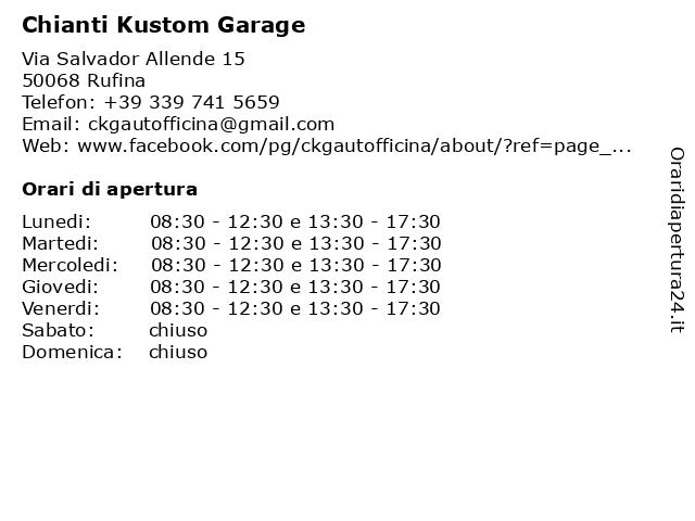 Chianti Kustom Garage a Rufina: indirizzo e orari di apertura