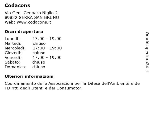Codacons a SERRA SAN BRUNO: indirizzo e orari di apertura