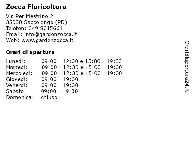 Zocca Floricoltura a Saccolongo (PD): indirizzo e orari di apertura