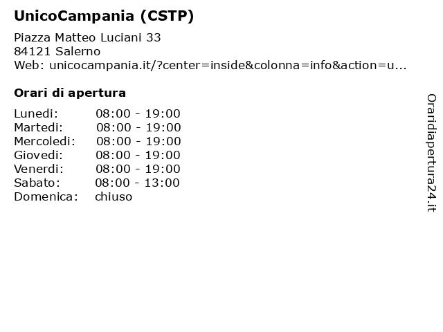 UnicoCampania (CSTP) a Salerno: indirizzo e orari di apertura