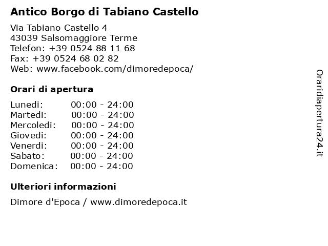 Antico Borgo di Tabiano Castello a Salsomaggiore Terme: indirizzo e orari di apertura