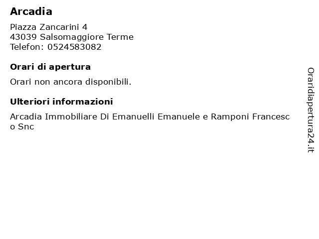 Arcadia a Salsomaggiore Terme: indirizzo e orari di apertura