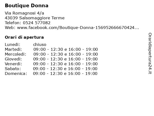Boutique Donna a Salsomaggiore Terme: indirizzo e orari di apertura
