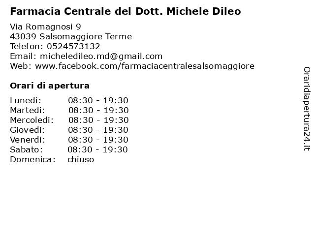 Farmacia Centrale Di Vaccari Emanuela Lorenza Snc a Salsomaggiore Terme: indirizzo e orari di apertura