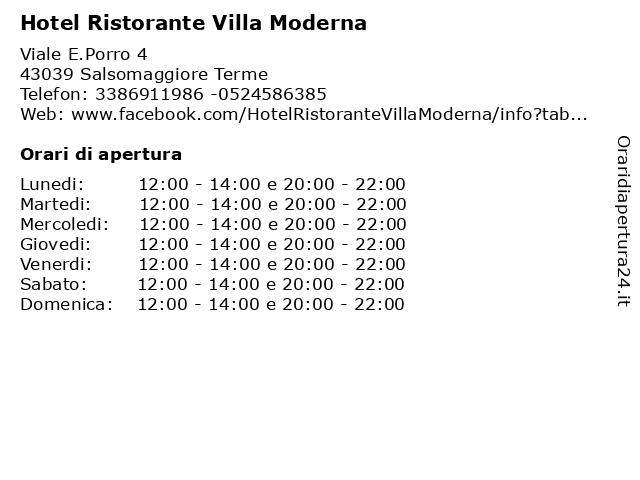 Hotel Ristorante Villa Moderna a Salsomaggiore Terme: indirizzo e orari di apertura