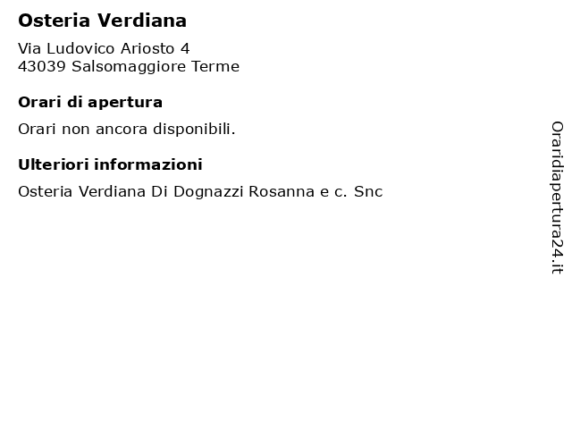 Osteria Verdiana a Salsomaggiore Terme: indirizzo e orari di apertura