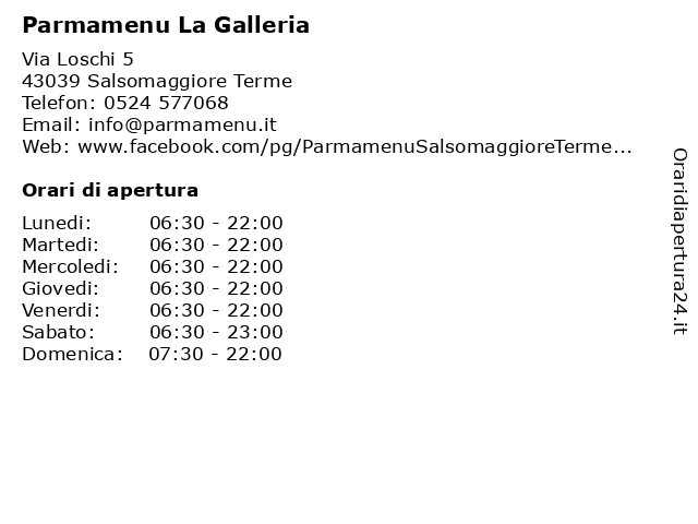 Parmamenu La Galleria a Salsomaggiore Terme: indirizzo e orari di apertura