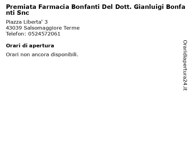 Premiata Farmacia Bonfanti Del Dott. Gianluigi Bonfanti Snc a Salsomaggiore Terme: indirizzo e orari di apertura