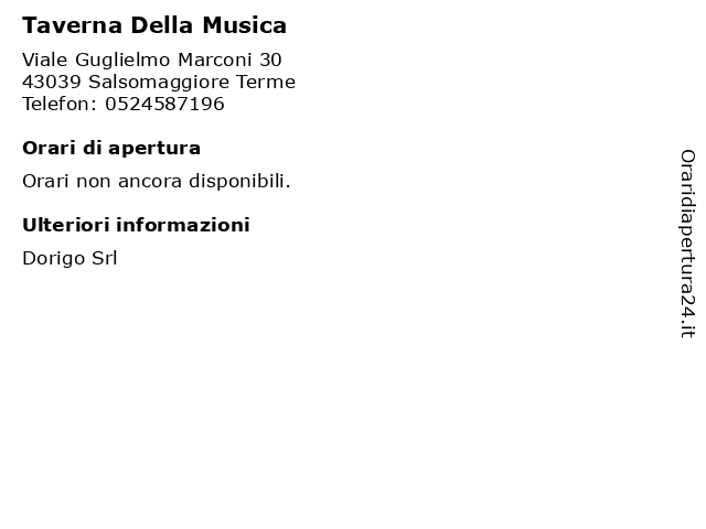 Taverna Della Musica a Salsomaggiore Terme: indirizzo e orari di apertura