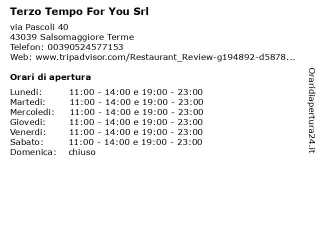 Terzo Tempo For You Srl a Salsomaggiore Terme: indirizzo e orari di apertura