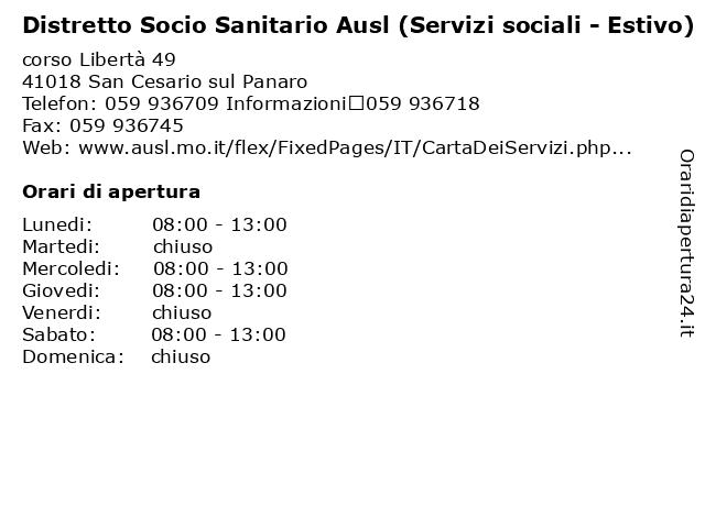 Distretto Socio Sanitario Ausl (Servizi sociali - Estivo) a San Cesario sul Panaro: indirizzo e orari di apertura