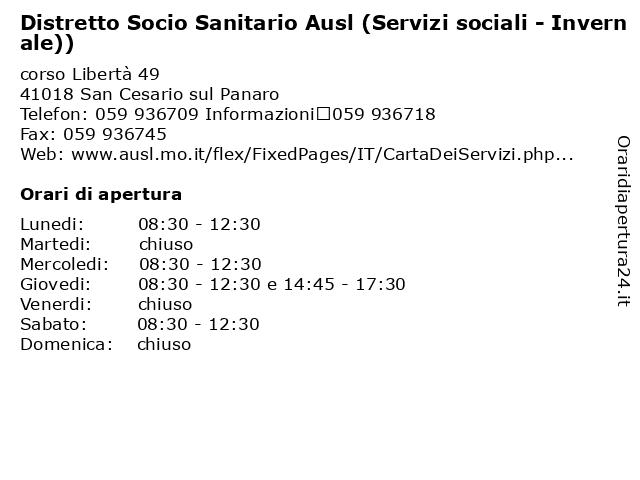 Distretto Socio Sanitario Ausl (Servizi sociali - Invernale)) a San Cesario sul Panaro: indirizzo e orari di apertura