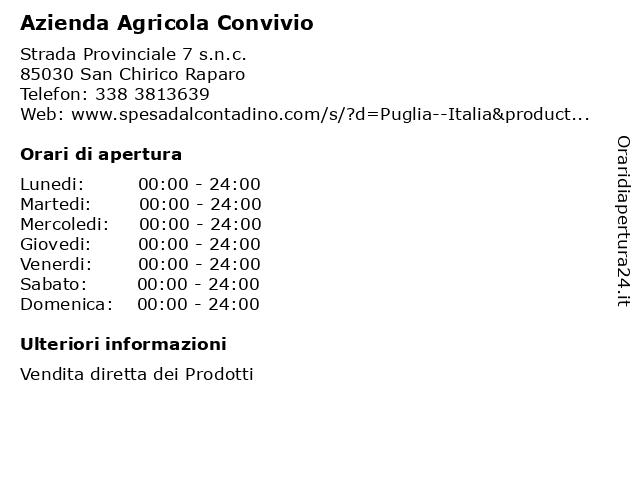 Azienda Agricola Convivio a San Chirico Raparo: indirizzo e orari di apertura