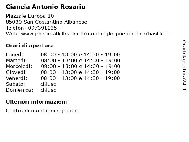 Ciancia Antonio Rosario a San Costantino Albanese: indirizzo e orari di apertura