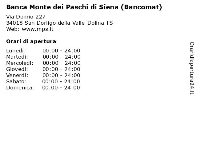Banca Monte dei Paschi di Siena (Bancomat) a San Dorligo della Valle-Dolina TS: indirizzo e orari di apertura