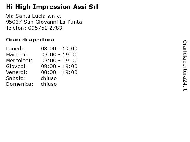 Hi High Impression Assi Srl a San Giovanni La Punta: indirizzo e orari di apertura