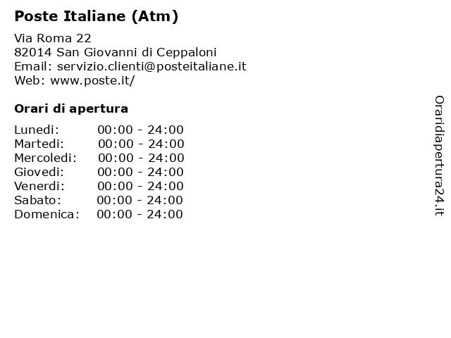 Poste Italiane (Atm) a San Giovanni di Ceppaloni: indirizzo e orari di apertura