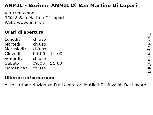 ANMIL - Sezione ANMIL Di San Martino Di Lupari a San Martino Di Lupari: indirizzo e orari di apertura
