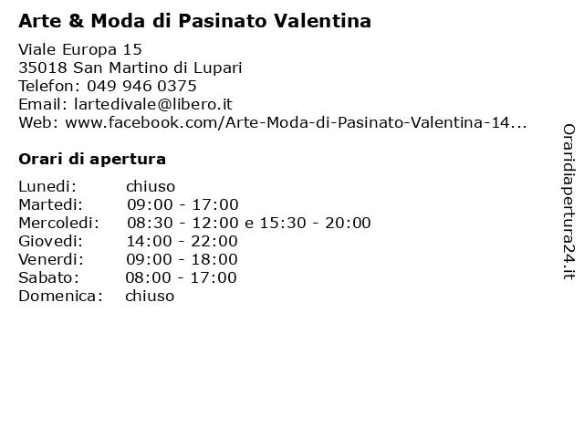 Arte & Moda di Pasinato Valentina a San Martino di Lupari: indirizzo e orari di apertura