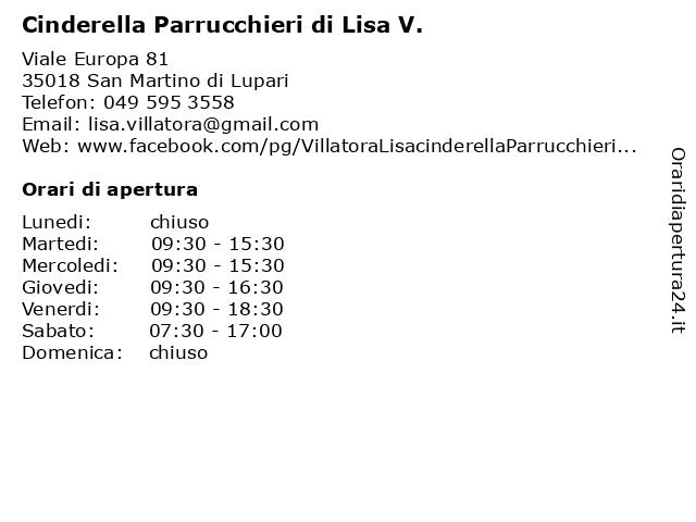 Cinderella Parrucchieri di Lisa V. a San Martino di Lupari: indirizzo e orari di apertura