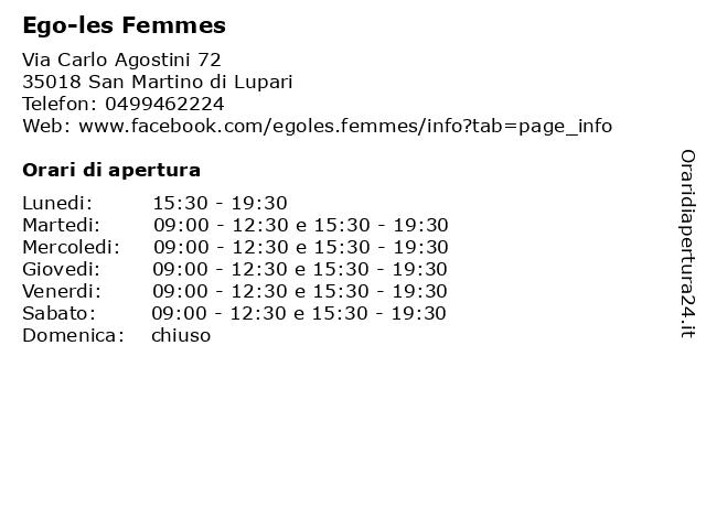 Ego-les Femmes a San Martino di Lupari: indirizzo e orari di apertura