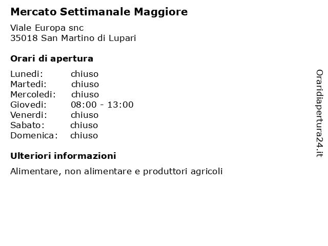 Mercato Settimanale Maggiore a San Martino di Lupari: indirizzo e orari di apertura