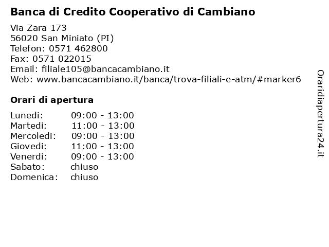 ᐅ Orari Banca di Credito Cooperativo di Cambiano | Via ...