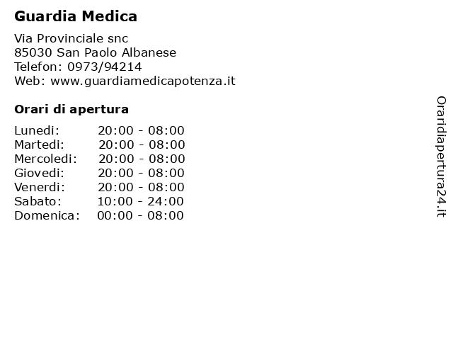 Guardia Medica a San Paolo Albanese: indirizzo e orari di apertura