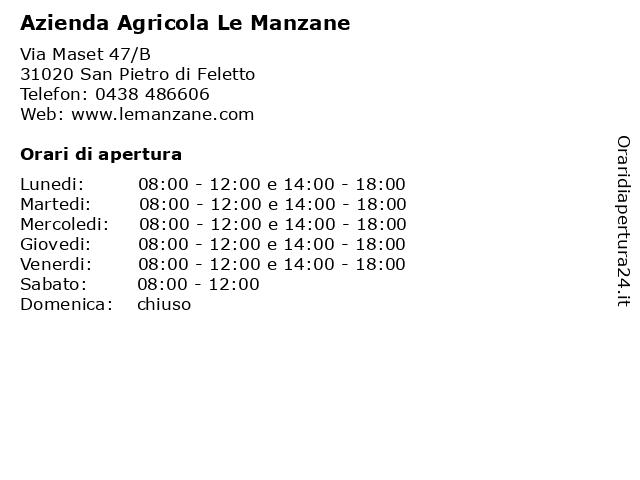 Azienda Agricola Le Manzane a San Pietro di Feletto: indirizzo e orari di apertura