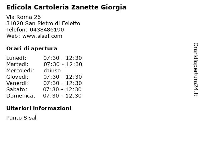 Edicola Cartoleria Zanette Giorgia a San Pietro di Feletto: indirizzo e orari di apertura