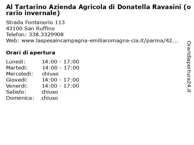 Al Tartarino Azienda Agricola di Donatella Ravasini (orario invernale) a San Ruffino: indirizzo e orari di apertura