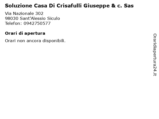 Soluzione Casa Di Crisafulli Giuseppe & c. Sas a Sant'Alessio Siculo: indirizzo e orari di apertura