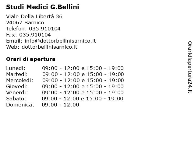 Studi Medici G.Bellini a Sarnico: indirizzo e orari di apertura