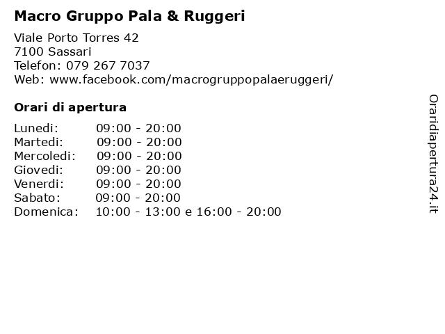 Macro Gruppo Pala & Ruggeri a Sassari: indirizzo e orari di apertura