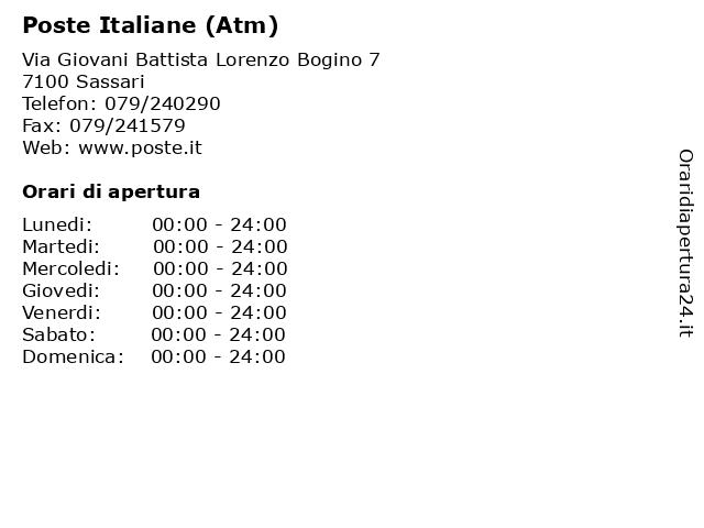 Poste Italiane (Atm) a Sassari: indirizzo e orari di apertura