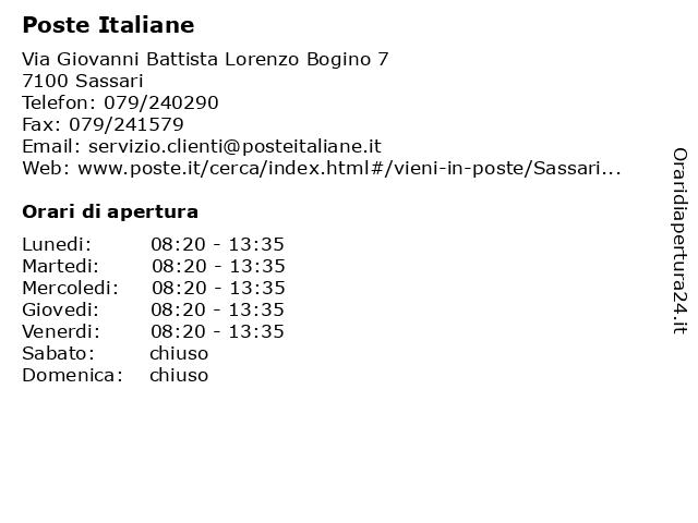 Poste Italiane a Sassari: indirizzo e orari di apertura