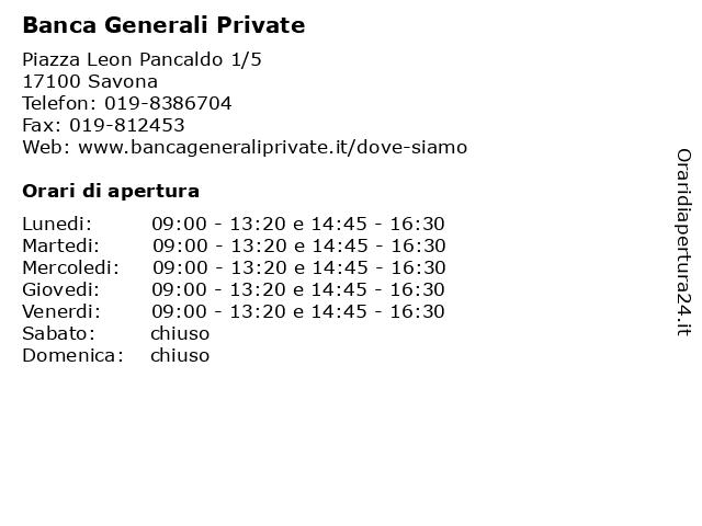 Banca Generali Private a Savona: indirizzo e orari di apertura