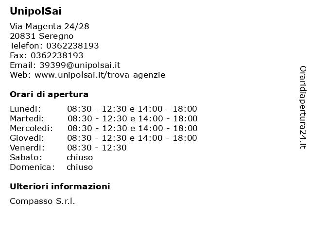 UnipolSai a Seregno: indirizzo e orari di apertura
