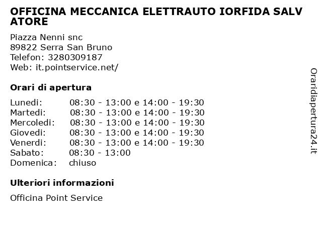 OFFICINA MECCANICA ELETTRAUTO IORFIDA SALVATORE a Serra San Bruno: indirizzo e orari di apertura