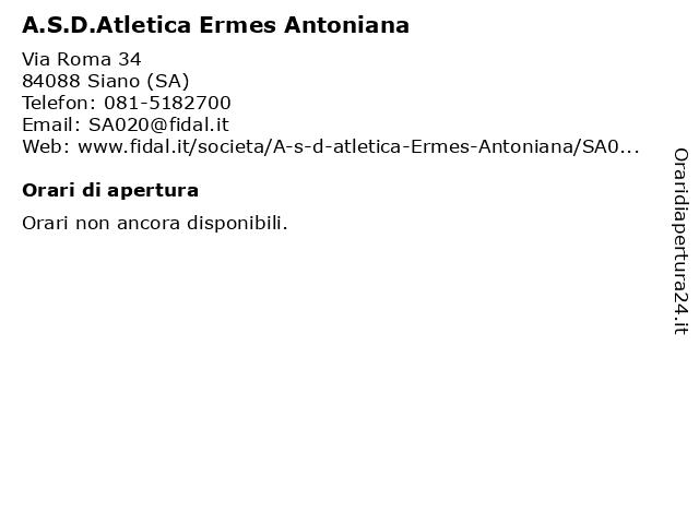 A.S.D.Atletica Ermes Antoniana a Siano (SA): indirizzo e orari di apertura