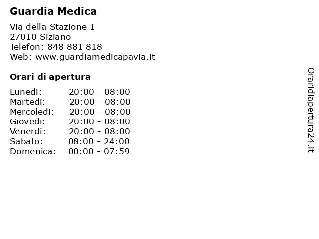 Guardia Medica a Siziano: indirizzo e orari di apertura