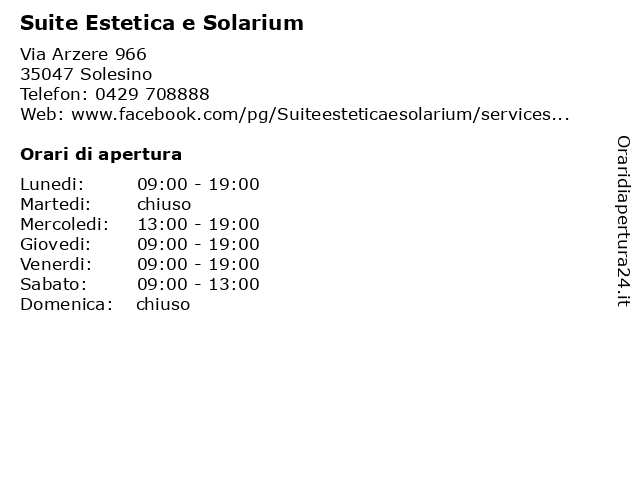 Suite Estetica e Solarium a Solesino: indirizzo e orari di apertura