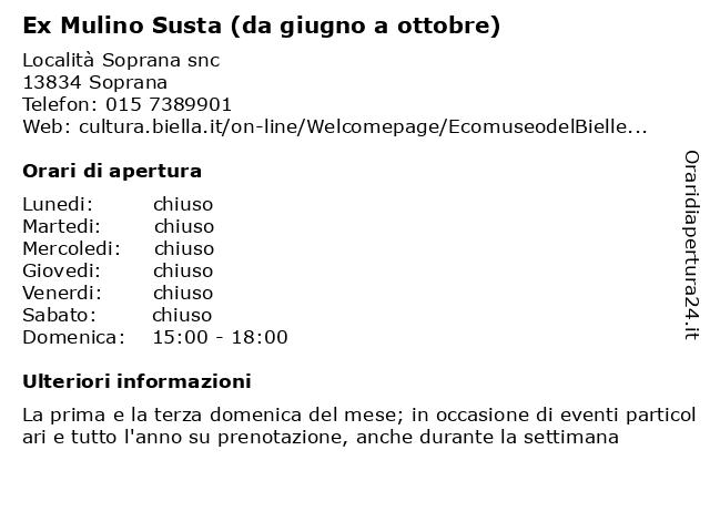 Ex Mulino Susta (da giugno a ottobre) a Soprana: indirizzo e orari di apertura