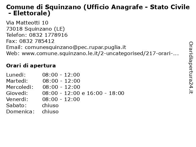 Comune di Squinzano (Ufficio Anagrafe - Stato Civile - Elettorale) a Squinzano (LE): indirizzo e orari di apertura