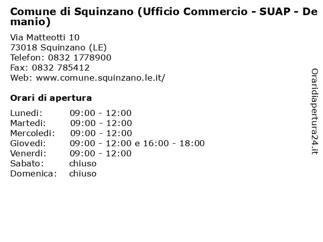 Comune di Squinzano (Ufficio Commercio - SUAP - Demanio) a Squinzano (LE): indirizzo e orari di apertura