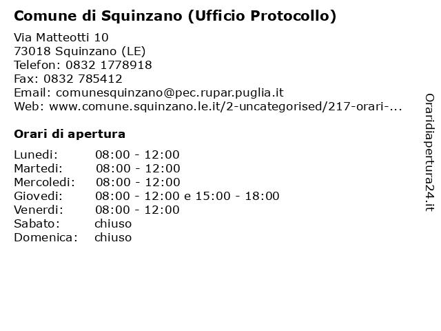 Comune di Squinzano (Ufficio Protocollo e Archivio) a Squinzano (LE): indirizzo e orari di apertura
