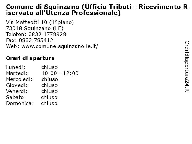 Comune di Squinzano (Ufficio Tributi - Ricevimento Riservato all'Utenza Professionale) a Squinzano (LE): indirizzo e orari di apertura