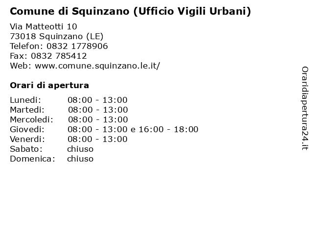 Comune di Squinzano (Ufficio Vigili Urbani) a Squinzano (LE): indirizzo e orari di apertura