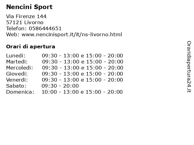 Á… Orari Nencini Sport Via Firenze 144 57121 Stagno