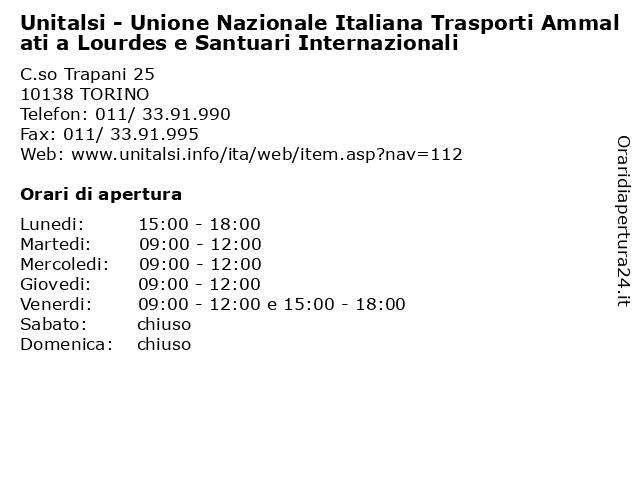 Unitalsi - Unione Nazionale Italiana Trasporti Ammalati a Lourdes e Santuari Internazionali a TORINO: indirizzo e orari di apertura